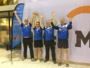 Zilver op het ONMK met de 4x200m vrije slag estafette met Jan Haitsma, Roelof Broekman, René Speelman en Chris Kouwenhoven